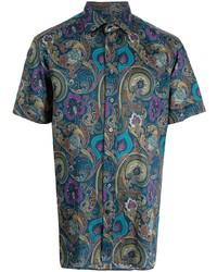 dunkelblaues Kurzarmhemd mit Paisley-Muster von Etro