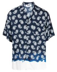 dunkelblaues Kurzarmhemd mit Paisley-Muster von MSGM