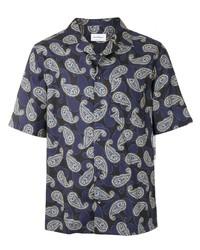 dunkelblaues Kurzarmhemd mit Paisley-Muster von Salvatore Ferragamo