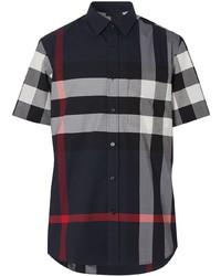 dunkelblaues Kurzarmhemd mit Schottenmuster von Burberry