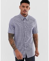 dunkelblaues Kurzarmhemd mit Vichy-Muster von Calvin Klein
