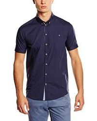 dunkelblaues Kurzarmhemd von Minimum