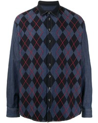 dunkelblaues Langarmhemd mit Argyle-Muster von DSQUARED2