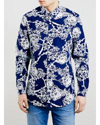 dunkelblaues Langarmhemd mit Blumenmuster