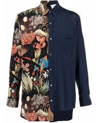 dunkelblaues Langarmhemd mit Flicken von Lanvin