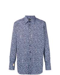 dunkelblaues Langarmhemd mit Paisley-Muster von Billionaire