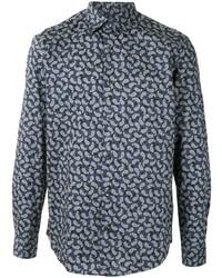 dunkelblaues Langarmhemd mit Paisley-Muster von Salvatore Ferragamo