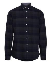 dunkelblaues Langarmhemd mit Schottenmuster von CASUAL FRIDAY