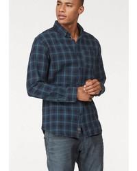dunkelblaues Langarmhemd mit Schottenmuster von Jack & Jones