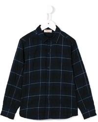 dunkelblaues Langarmhemd mit Schottenmuster