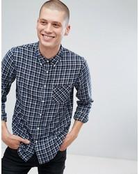 dunkelblaues Langarmhemd mit Schottenmuster von Lee