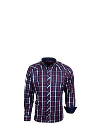 dunkelblaues Langarmhemd mit Schottenmuster von RUSTY NEAL