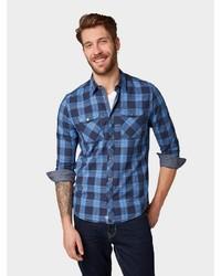 dunkelblaues Langarmhemd mit Schottenmuster von Tom Tailor