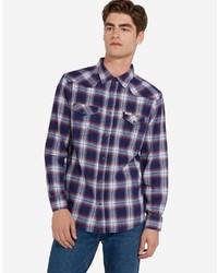 dunkelblaues Langarmhemd mit Schottenmuster von Wrangler