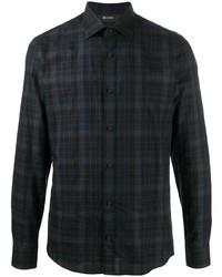 dunkelblaues Langarmhemd mit Schottenmuster von Z Zegna