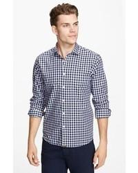 dunkelblaues Langarmhemd mit Vichy-Muster