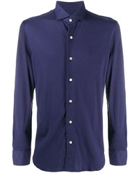 dunkelblaues Langarmhemd von Boglioli