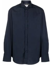 dunkelblaues Langarmhemd von Brunello Cucinelli