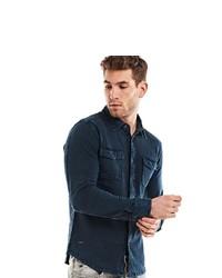 dunkelblaues Langarmhemd von EMILIO ADANI