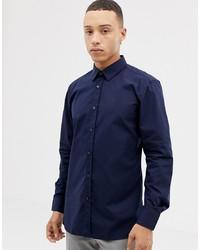 dunkelblaues Langarmhemd von Hugo