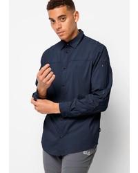 dunkelblaues Langarmhemd von Jack Wolfskin