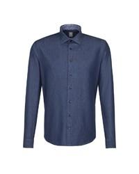 dunkelblaues Langarmhemd von Jacques Britt