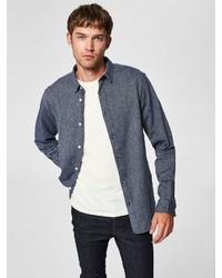 dunkelblaues Langarmhemd von Selected Homme