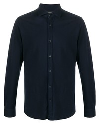 dunkelblaues Langarmhemd von Z Zegna