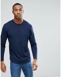 dunkelblaues Langarmshirt mit einer Knopfleiste von ASOS DESIGN