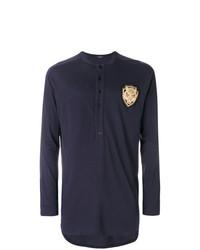 dunkelblaues Langarmshirt mit einer Knopfleiste von Balmain