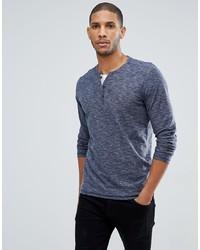dunkelblaues Langarmshirt mit einer Knopfleiste von Tom Tailor