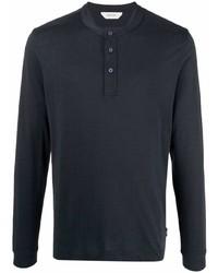 dunkelblaues Langarmshirt mit einer Knopfleiste von Z Zegna