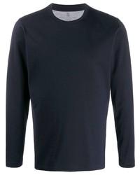dunkelblaues Langarmshirt von Brunello Cucinelli