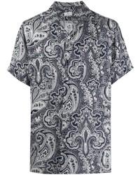 dunkelblaues Leinen Kurzarmhemd mit Paisley-Muster von Etro