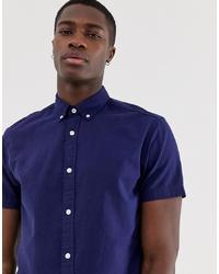 dunkelblaues Leinen Kurzarmhemd von Jack & Jones