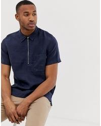 dunkelblaues Leinen Kurzarmhemd von PS Paul Smith