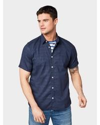 dunkelblaues Leinen Kurzarmhemd von Tom Tailor