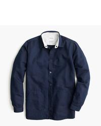 dunkelblaues Leinen Langarmhemd