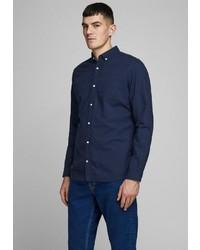 dunkelblaues Leinen Langarmhemd von Jack & Jones