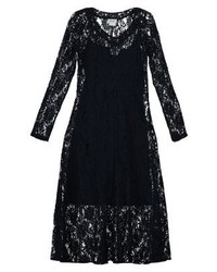 dunkelblaues Midikleid aus Spitze von DKNY