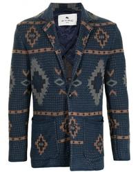 dunkelblaues Sakko mit geometrischem Muster von Etro