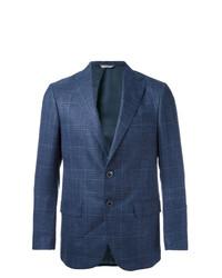 dunkelblaues Sakko mit Schottenmuster von Fashion Clinic Timeless