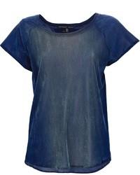 dunkelblaues Samt T-Shirt mit einem Rundhalsausschnitt von Theyskens' Theory