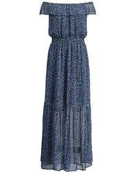 dunkelblaues schulterfreies Kleid mit Blumenmuster