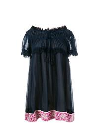 dunkelblaues schulterfreies Kleid mit Blumenmuster von Chloé