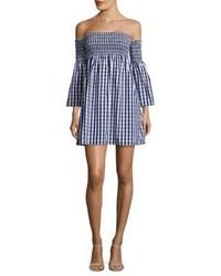 dunkelblaues schulterfreies Kleid mit Vichy-Muster