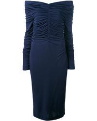 dunkelblaues schulterfreies Kleid von Salvatore Ferragamo