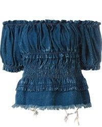 dunkelblaues schulterfreies Oberteil aus Jeans von Chloé
