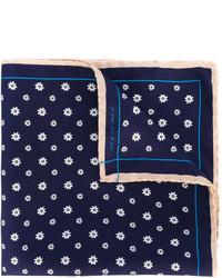 dunkelblaues Seide Einstecktuch mit Blumenmuster von fe-fe