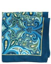 dunkelblaues Seide Einstecktuch mit Paisley-Muster